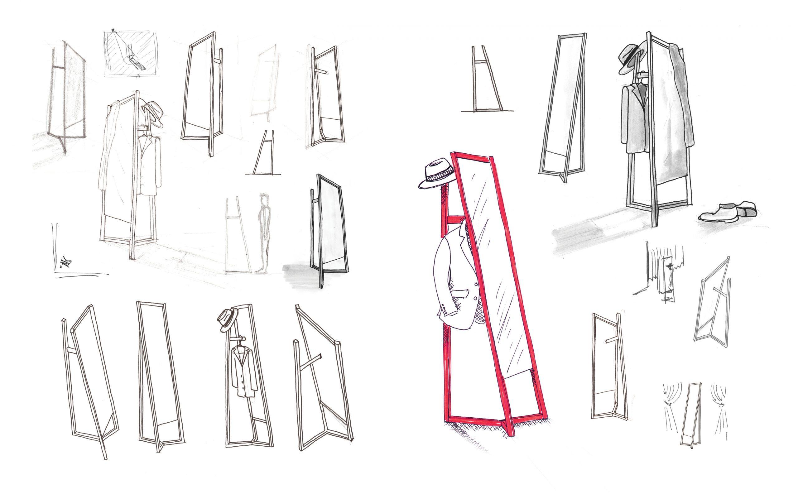 Sketch of Club mirror by Debiasi Sandri for Schoenbuch