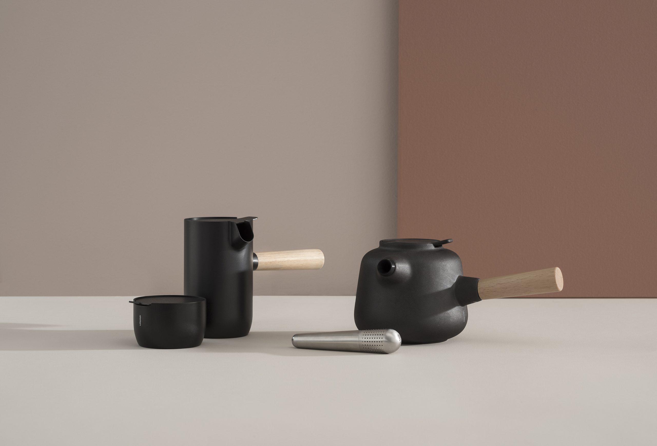 Collar Tea pot, milk pot, sugar bowl and teaegg by Debiasi Sandri for Stelton