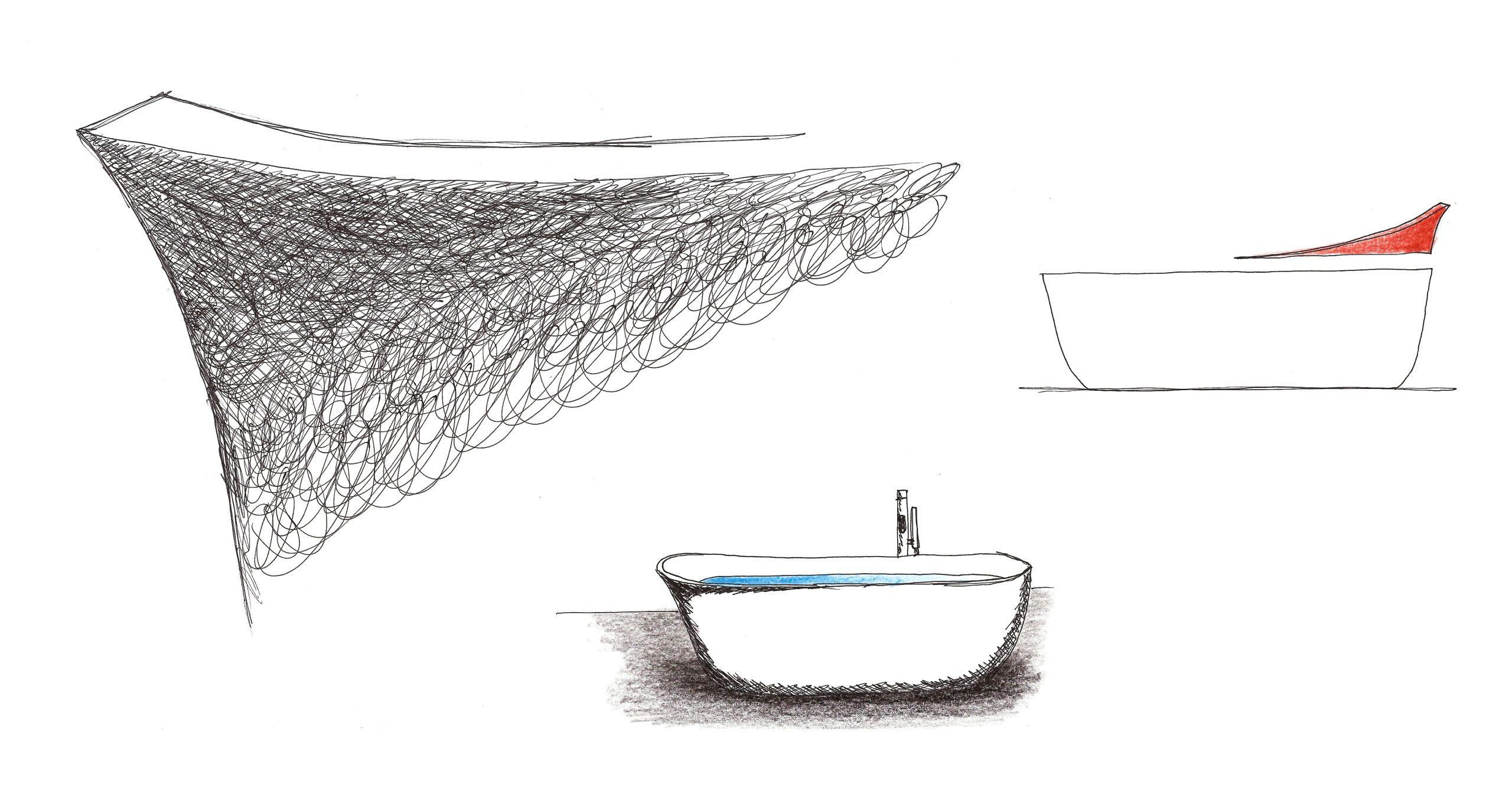 Sketch of Dafne bathtub by Daniel Debiasi and Federico Sandri
