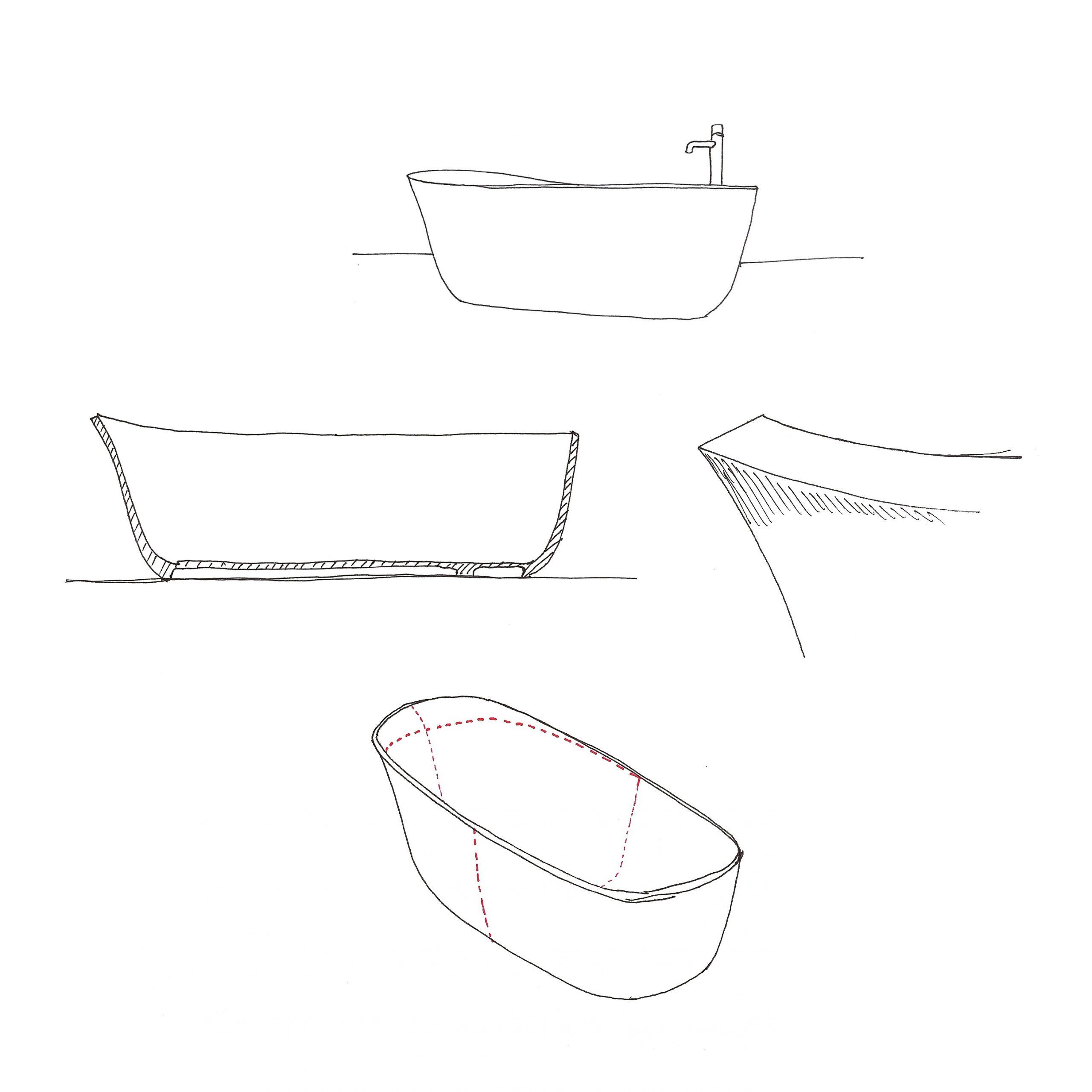 Dafne bathtub sketch by Debiasi Sandri for Antoniolupi