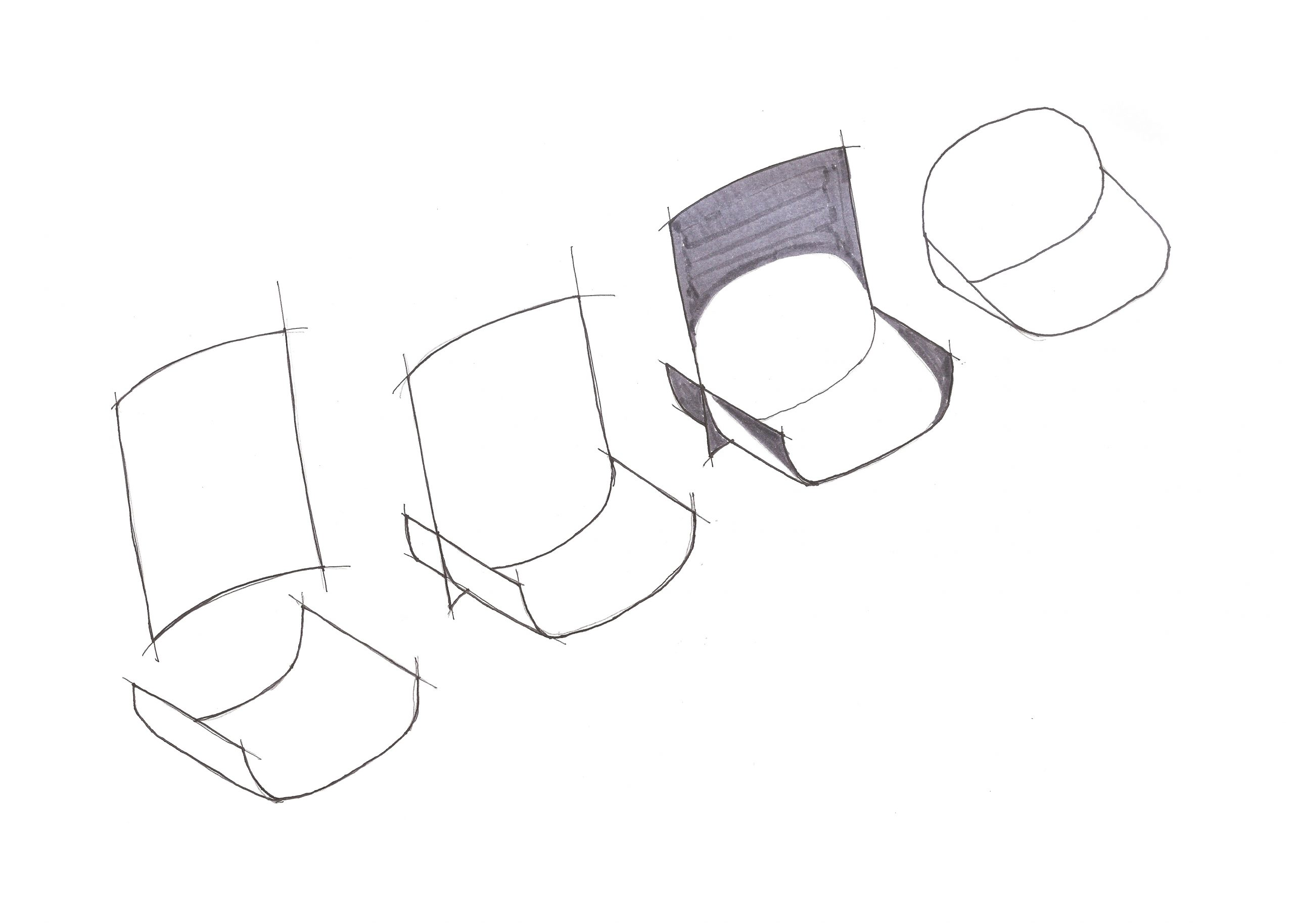 Elba chair design process sketch by Debiasi Sandri