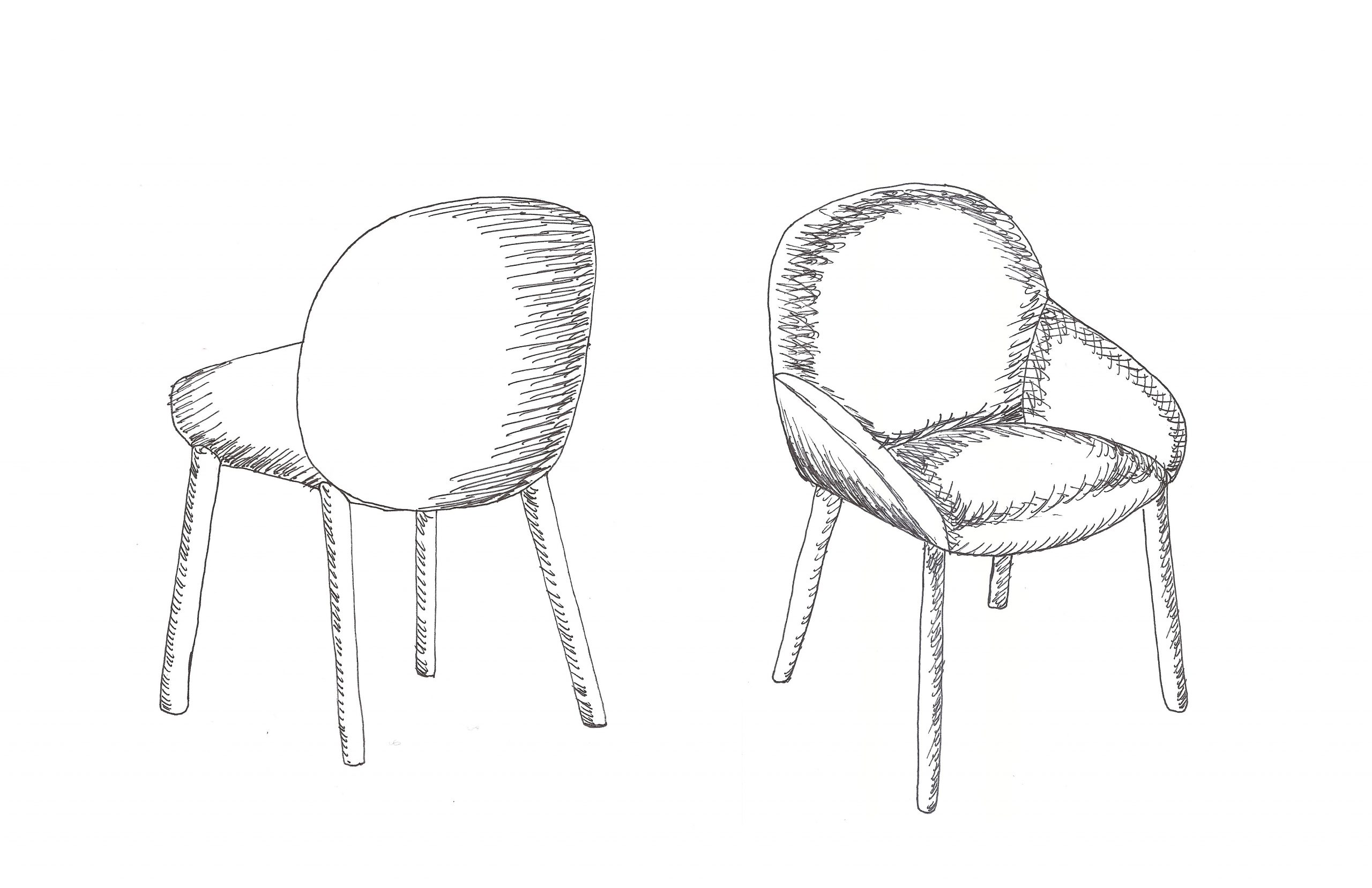 Sketch drawing of Elba chair by Debiasi Sandri