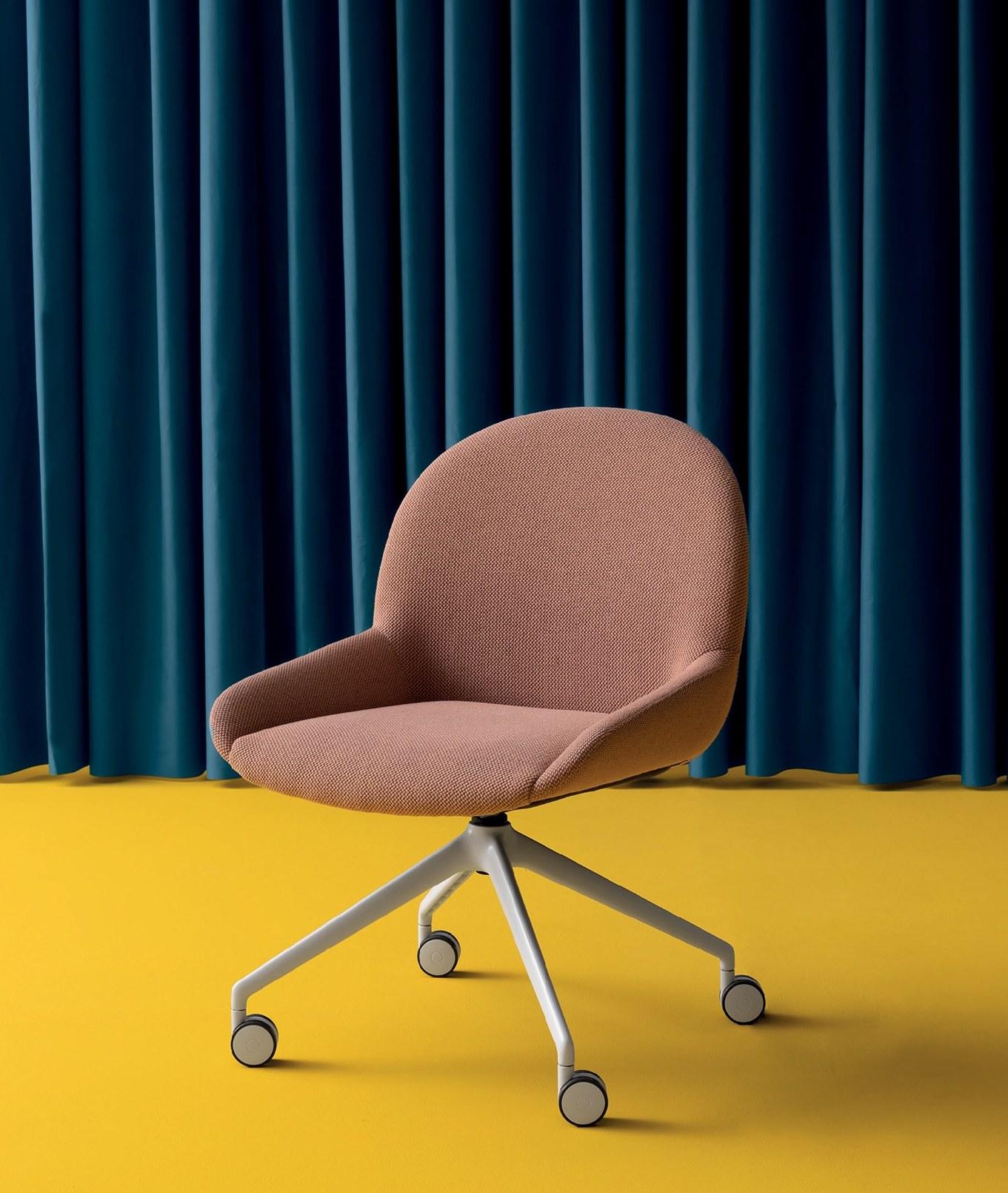 Blush Elba chair on four wheel star base designed by Debiasi Sandri for Crasseviig