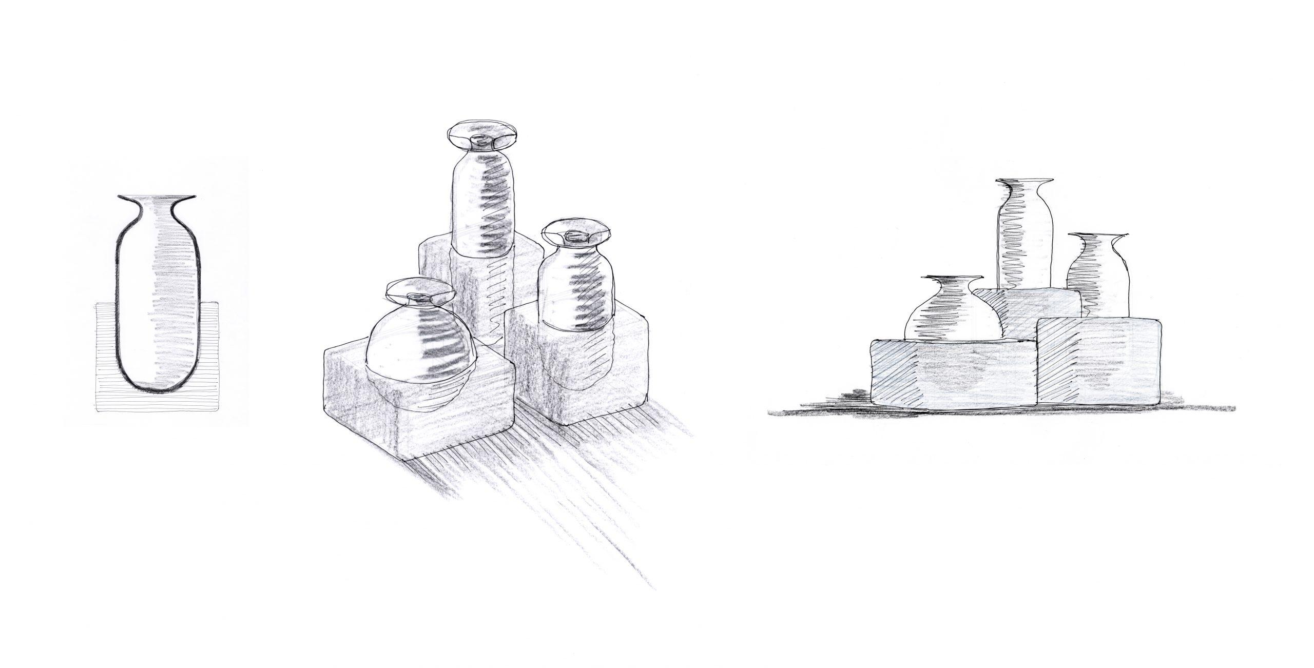 Sketch of Freddo vase in black for Rosenthal, designed by Debiasi Sandri