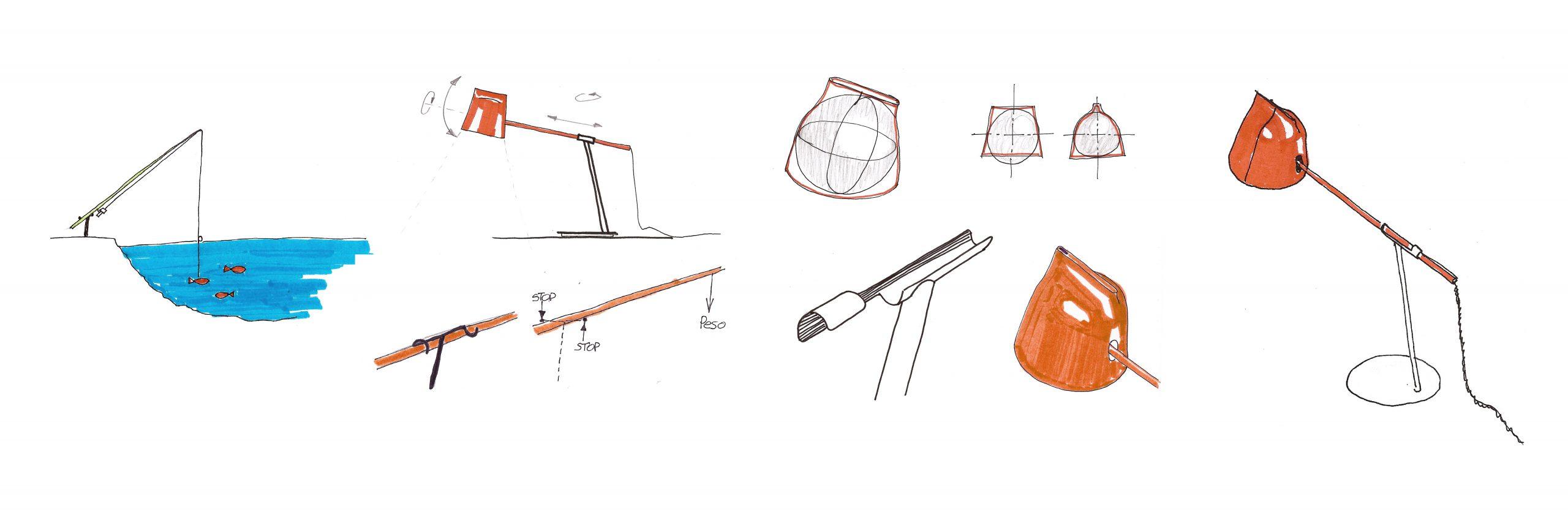 Sketch of Momento lamp designed by Daniel Debiasi and Federico Sandri