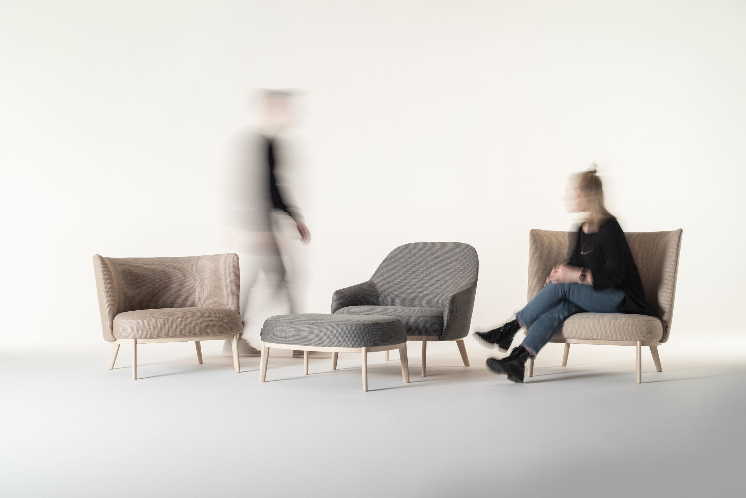 Shift Wood lounge chairs and Ottoman designed by Debiasi Sandri for Offecct