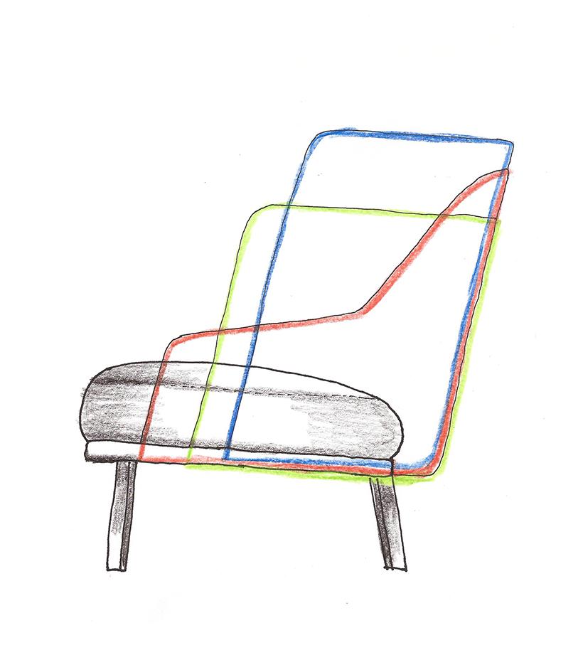Sketch of Shift Wood lounge chairs by Daniel Debiasi and Federico Sandri