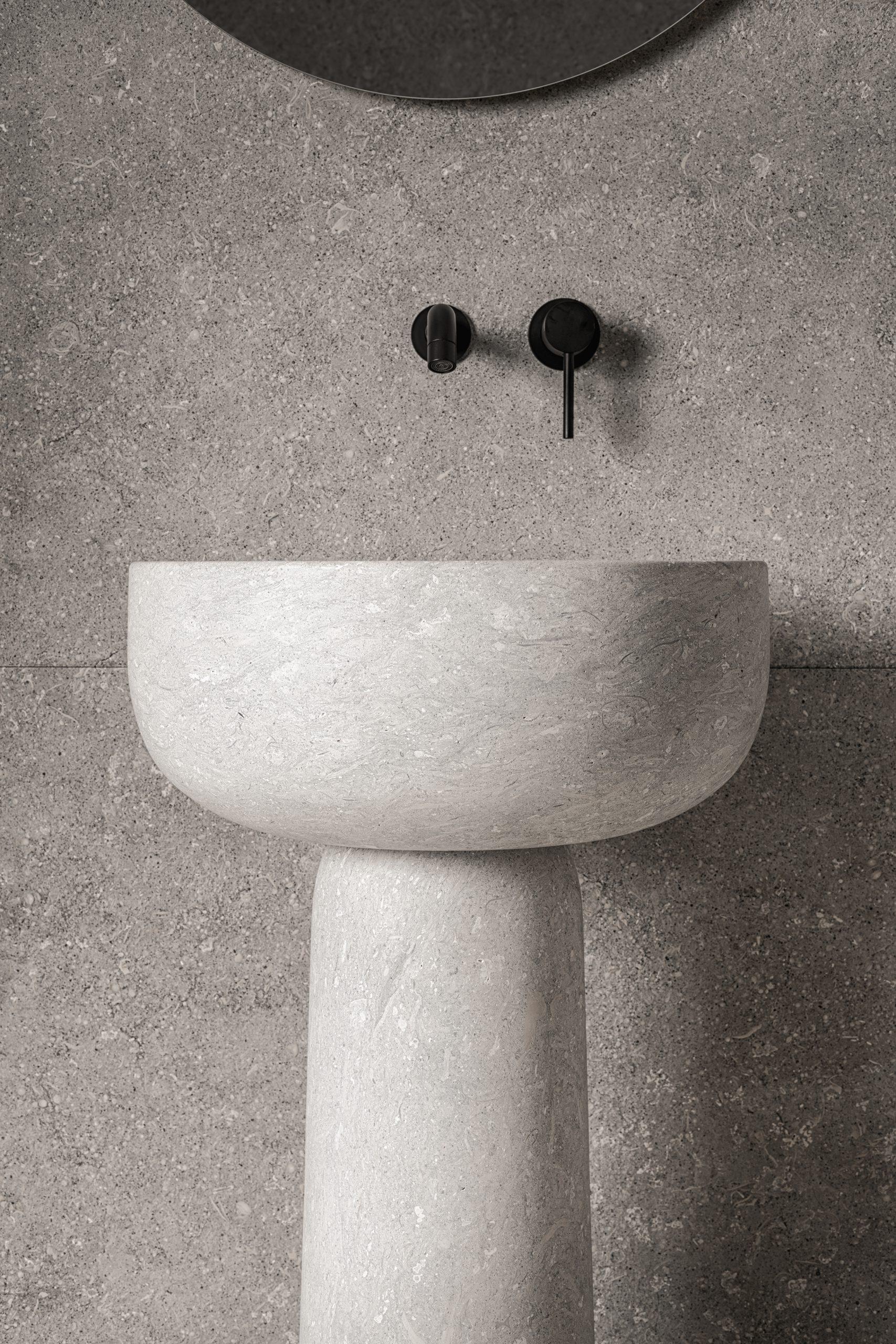 Tetide freestanding washbowl in Pietra di Vicenza stone, designed by Debiasi Sandri for Grassi Pietre