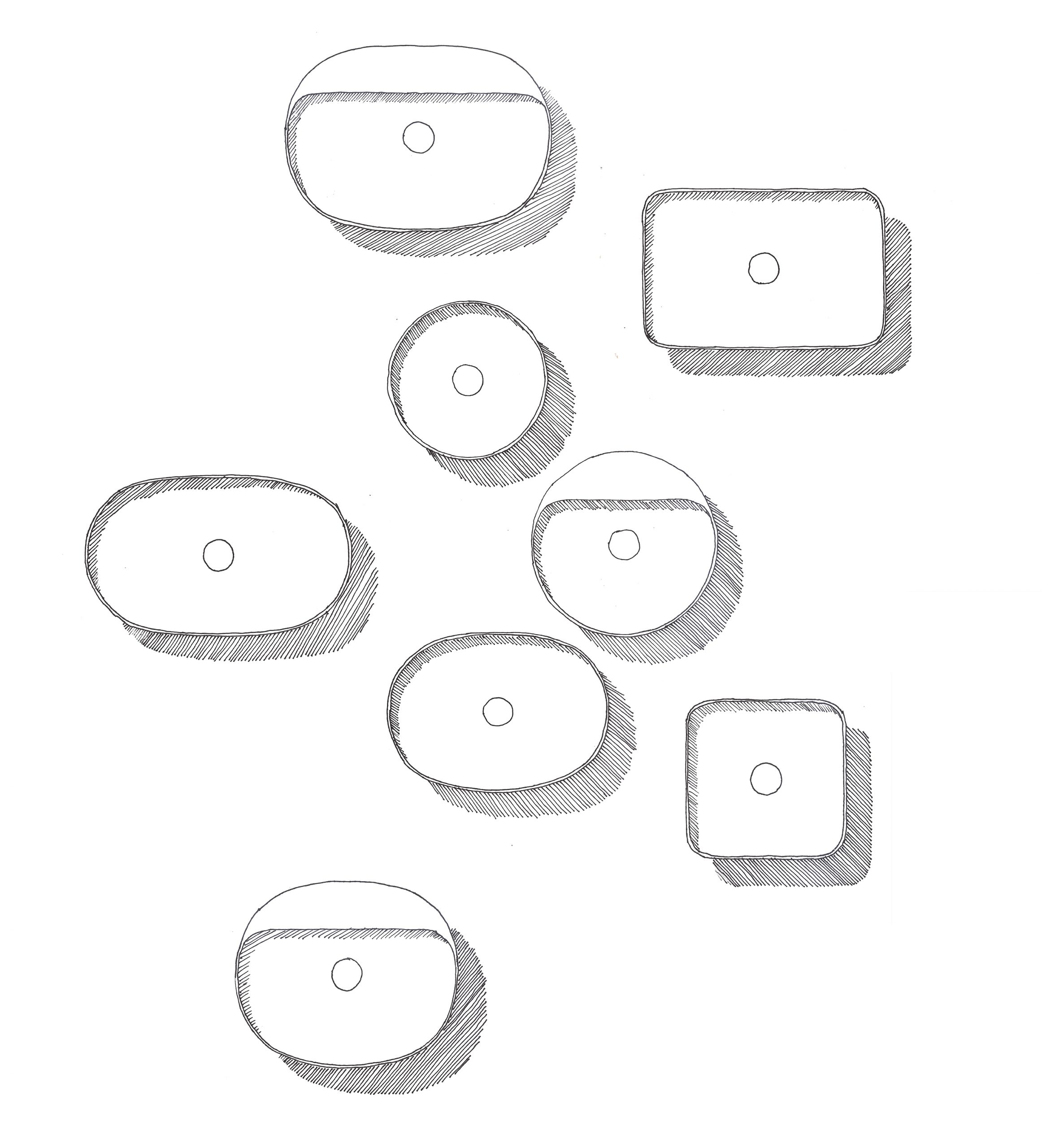 Sketch of top view of Variant washbasins designed by Debiasi Sandri for RAK Ceramics
