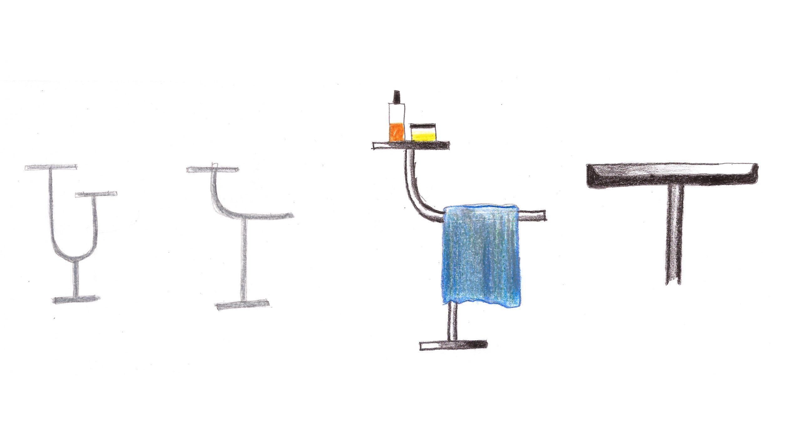 Sketch of Bivio bathroom accessories by Daniel Debiasi and Federico Sandri