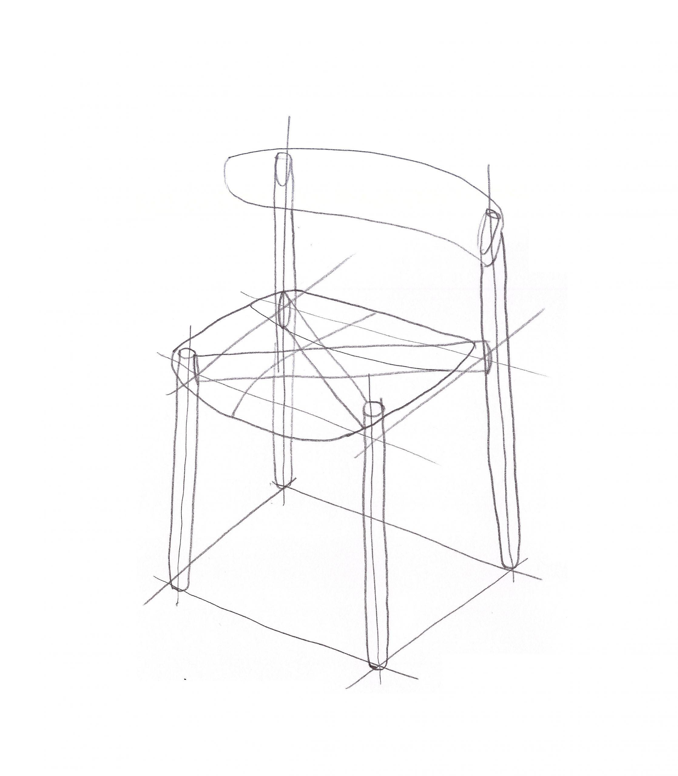 Sketch of the Bison chair by Debiasi Sandri for Tekhne
