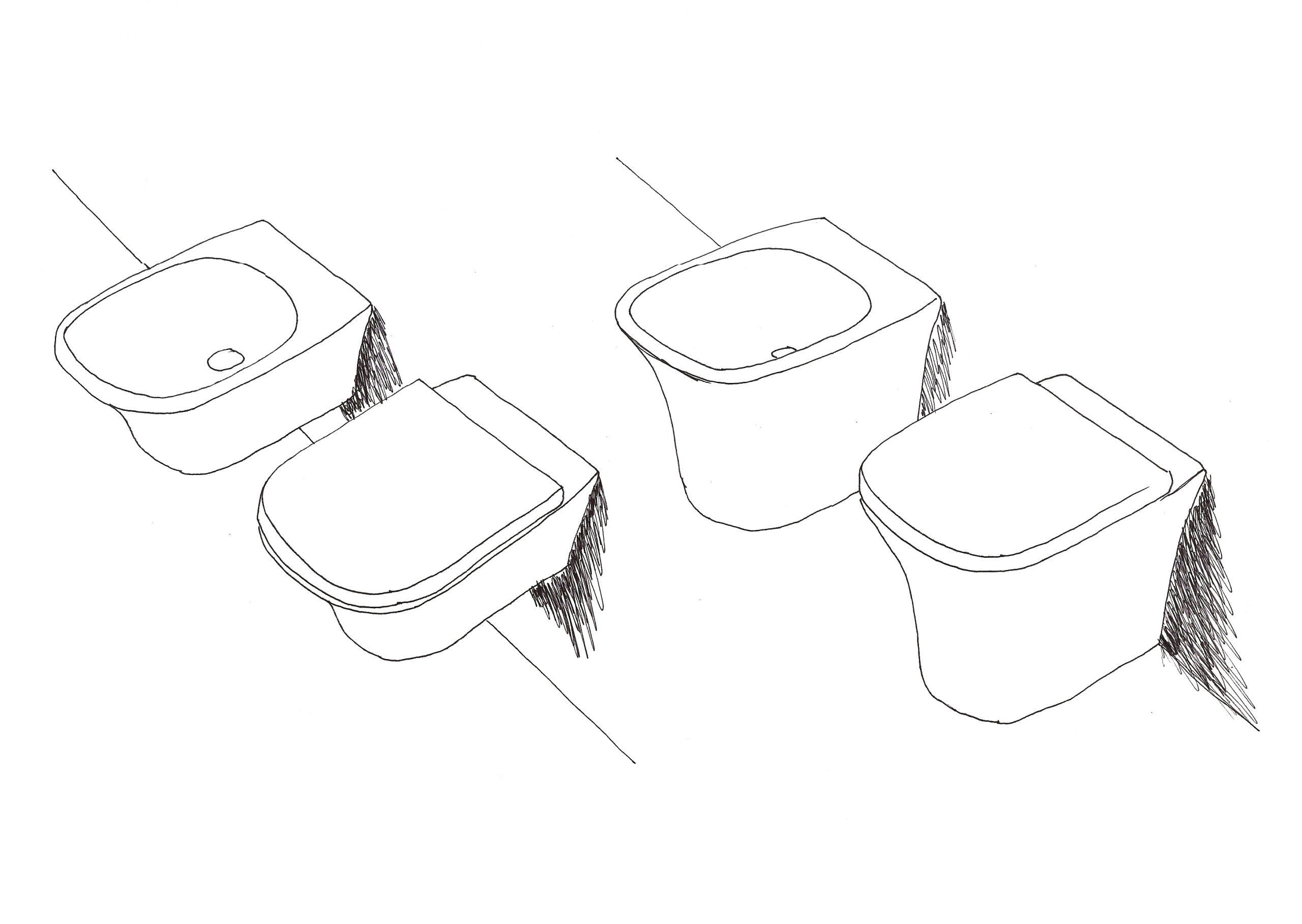 sketch of Cabo sanitaryware by Debiasi Sandri for Antoniolupi, toilet and bidet