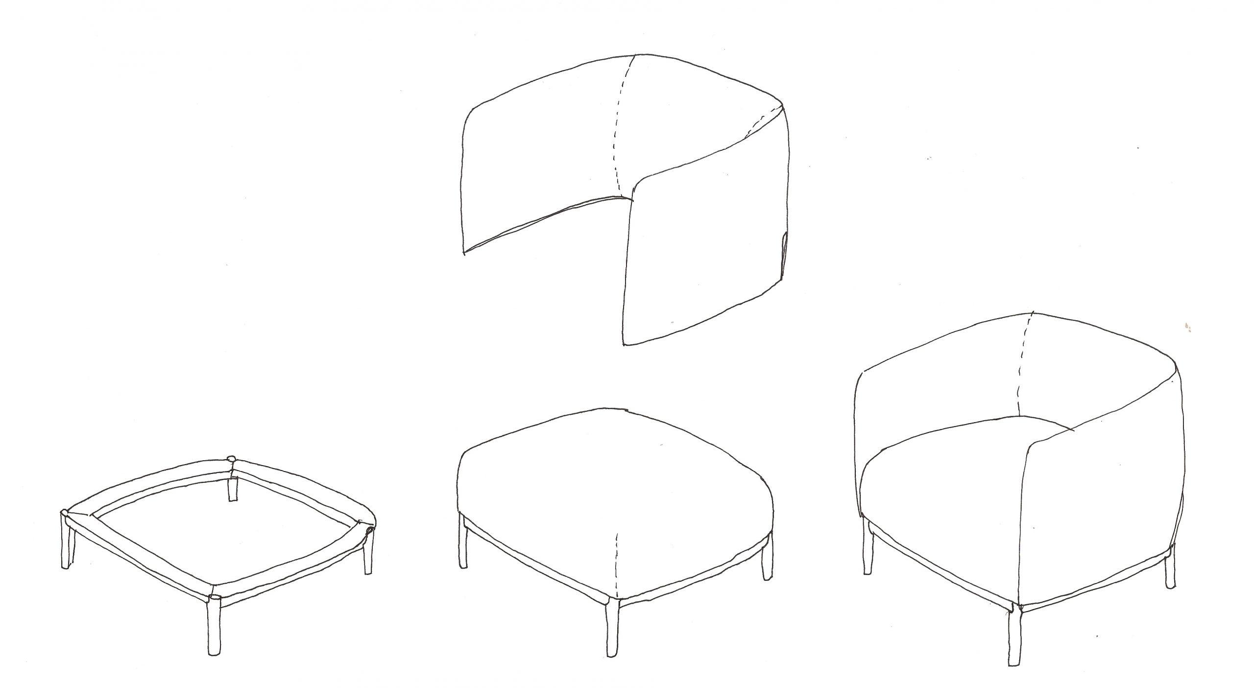 Sketch of Cape armchair by Debiasi Sandri for Tekhne