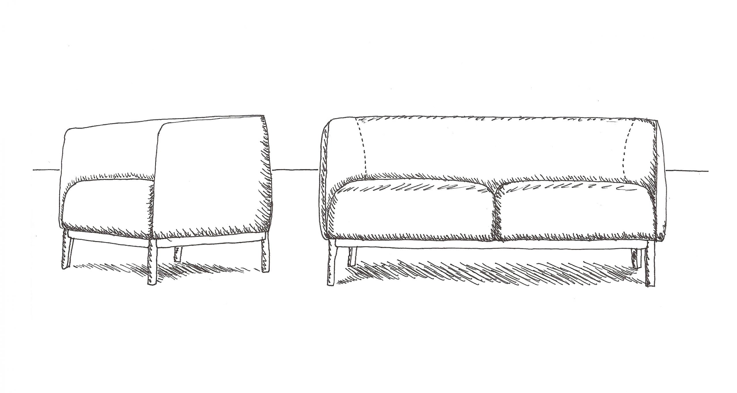 Sketch of the Cape sofa and lounge chair by Debiasi Sandri for Tekhne