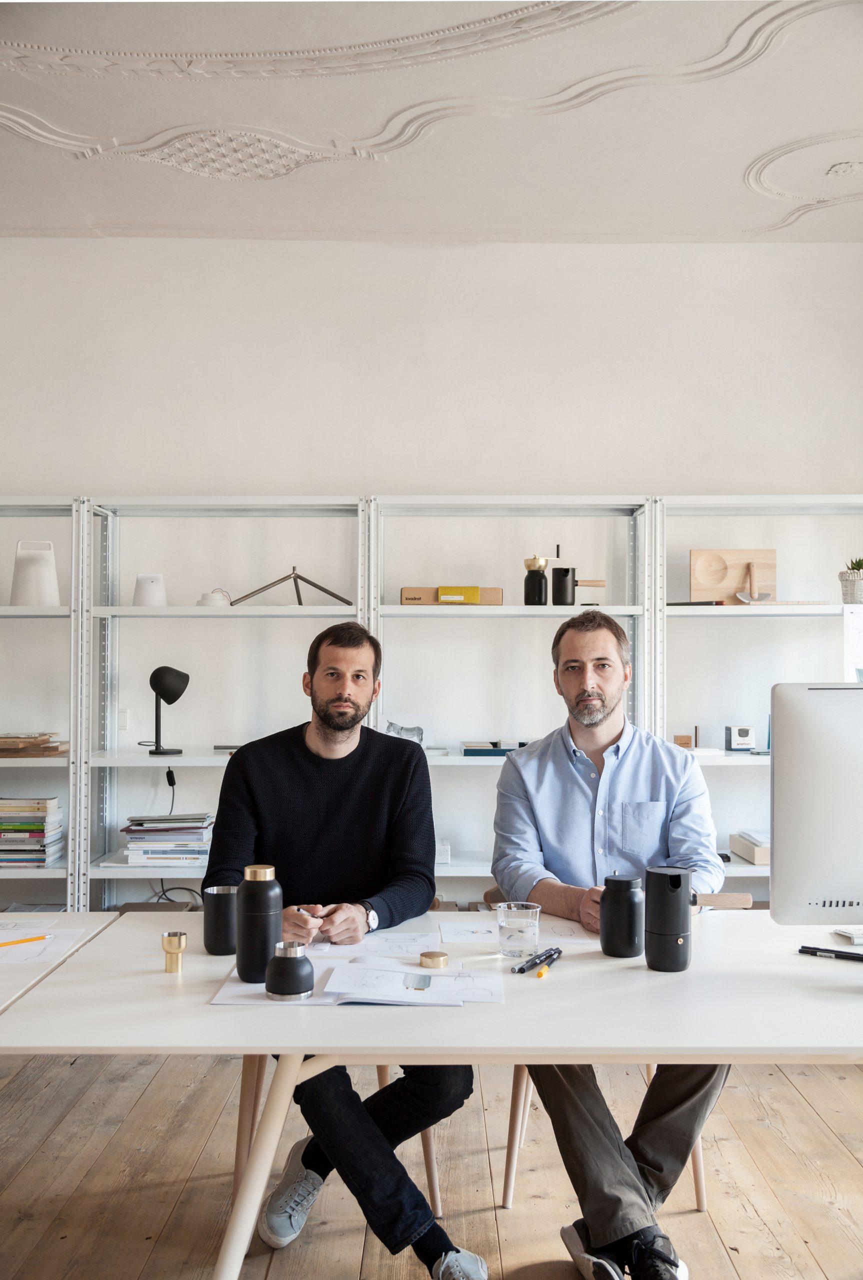 Studio shot of Daniel Debiasi and Federico sandri with the Collar bar set designed for Stelton