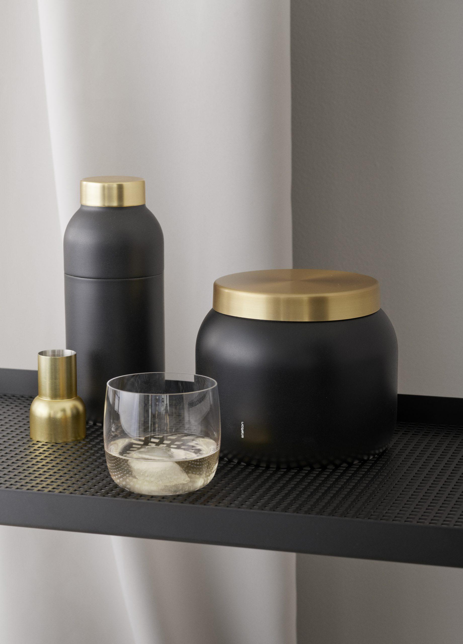 Collar Ice bucket and cocktail shaker by Debiasi Sandri for Stelton