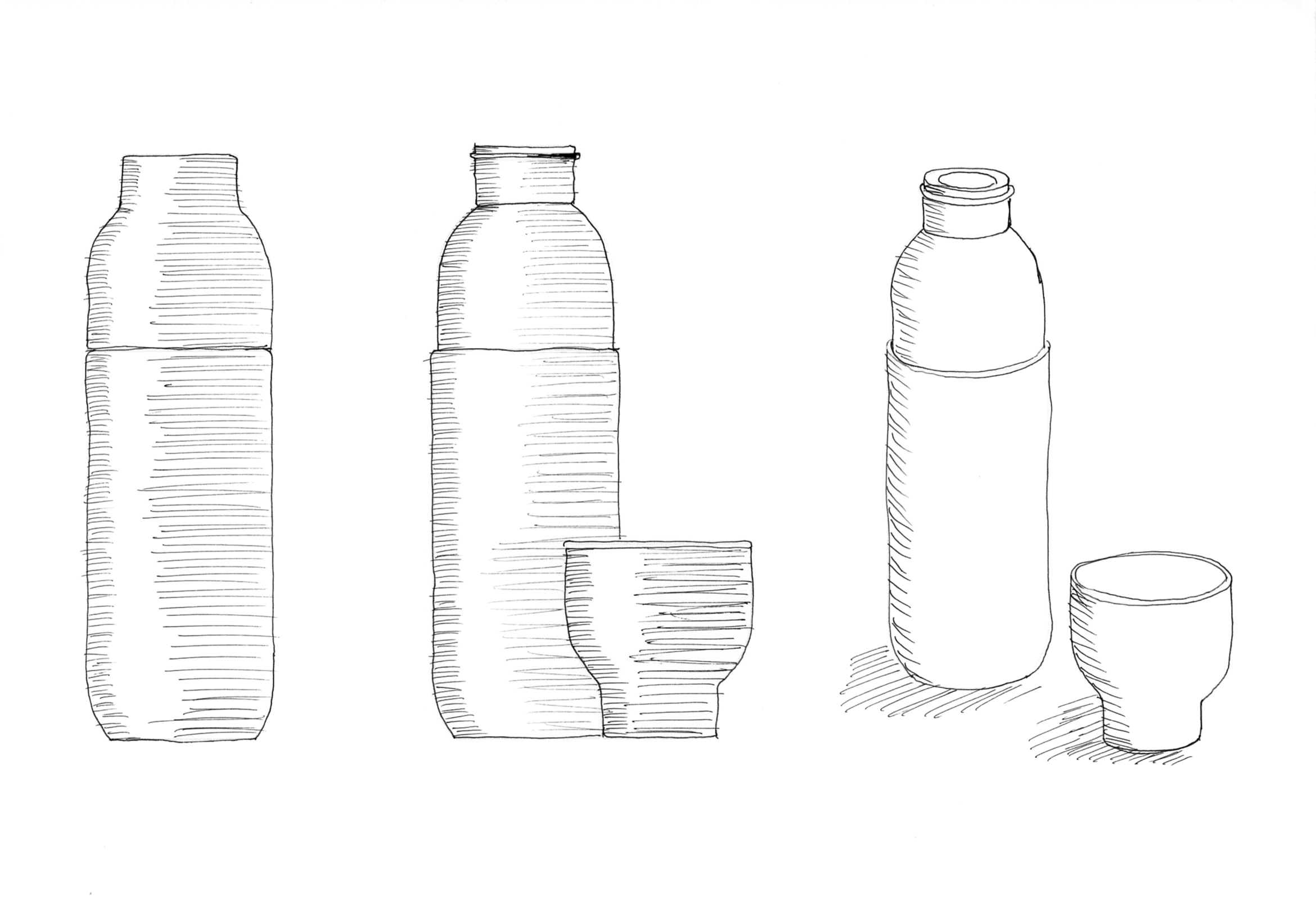 Sketch of the Collar thermo and water bottle by Debiasi Sandri for Stelton