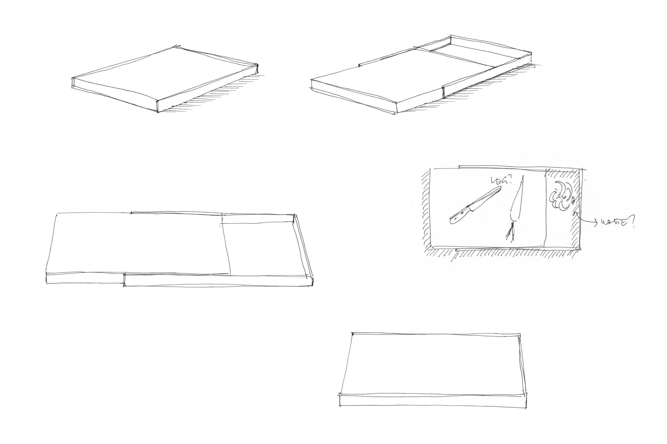 Sketch of the Frame cutting board designed by Debiasi Sandri for RigTig