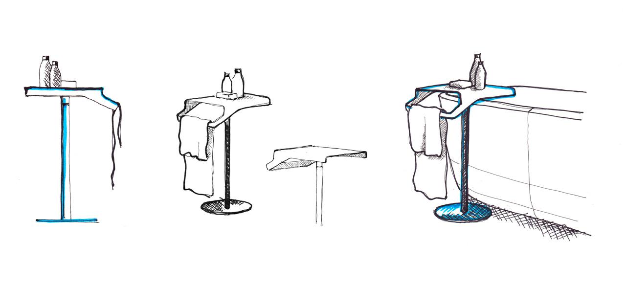 Sketch of Gino side table by Debiasi Sandri for Antoniolupi