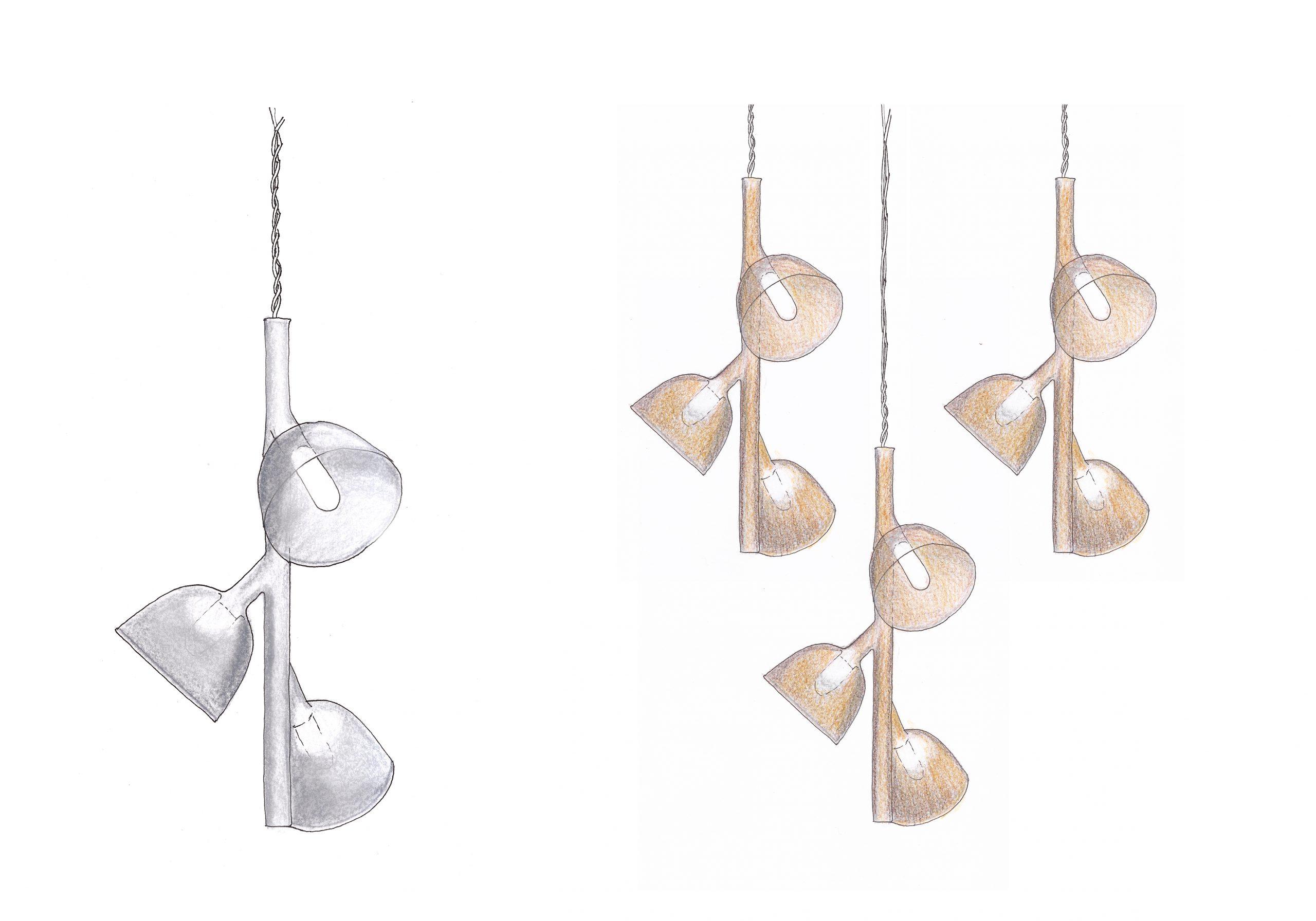 Sketch of the Labo pendant lamp bu Debiasi Sandri for Penta