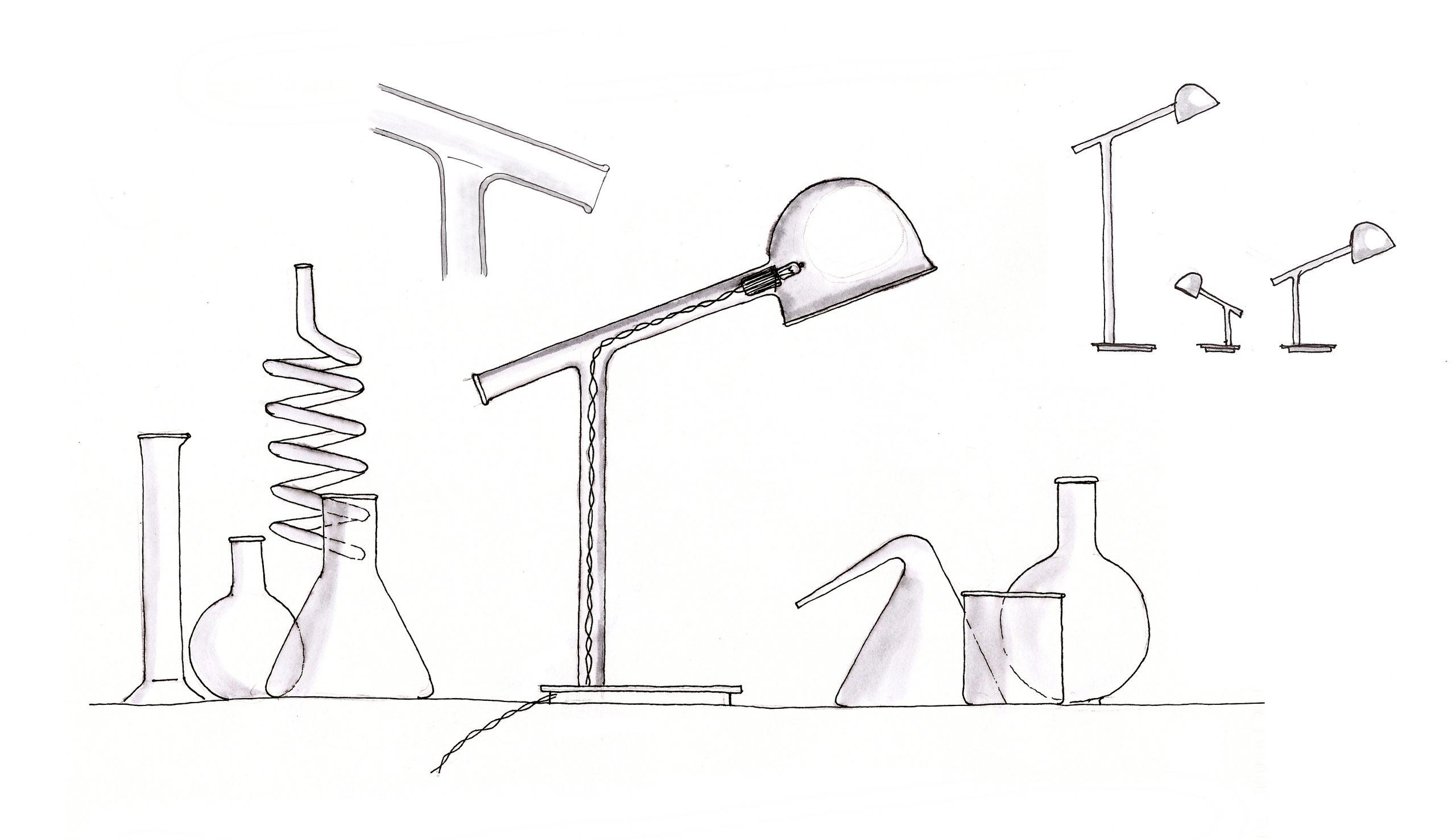 Sketch of the Labo borosilicate glass lamp by Debiasi Sandri for Penta