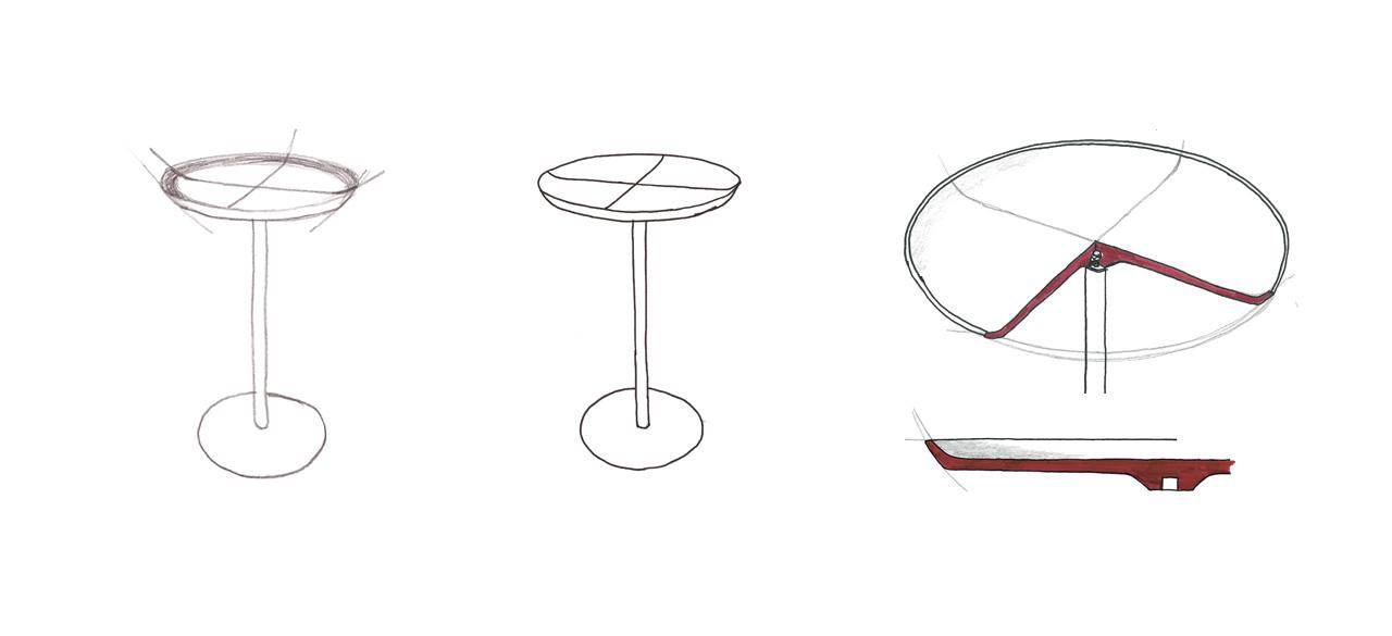sketch of the Lino side table by Debiasi Sandri for Antoniolupi