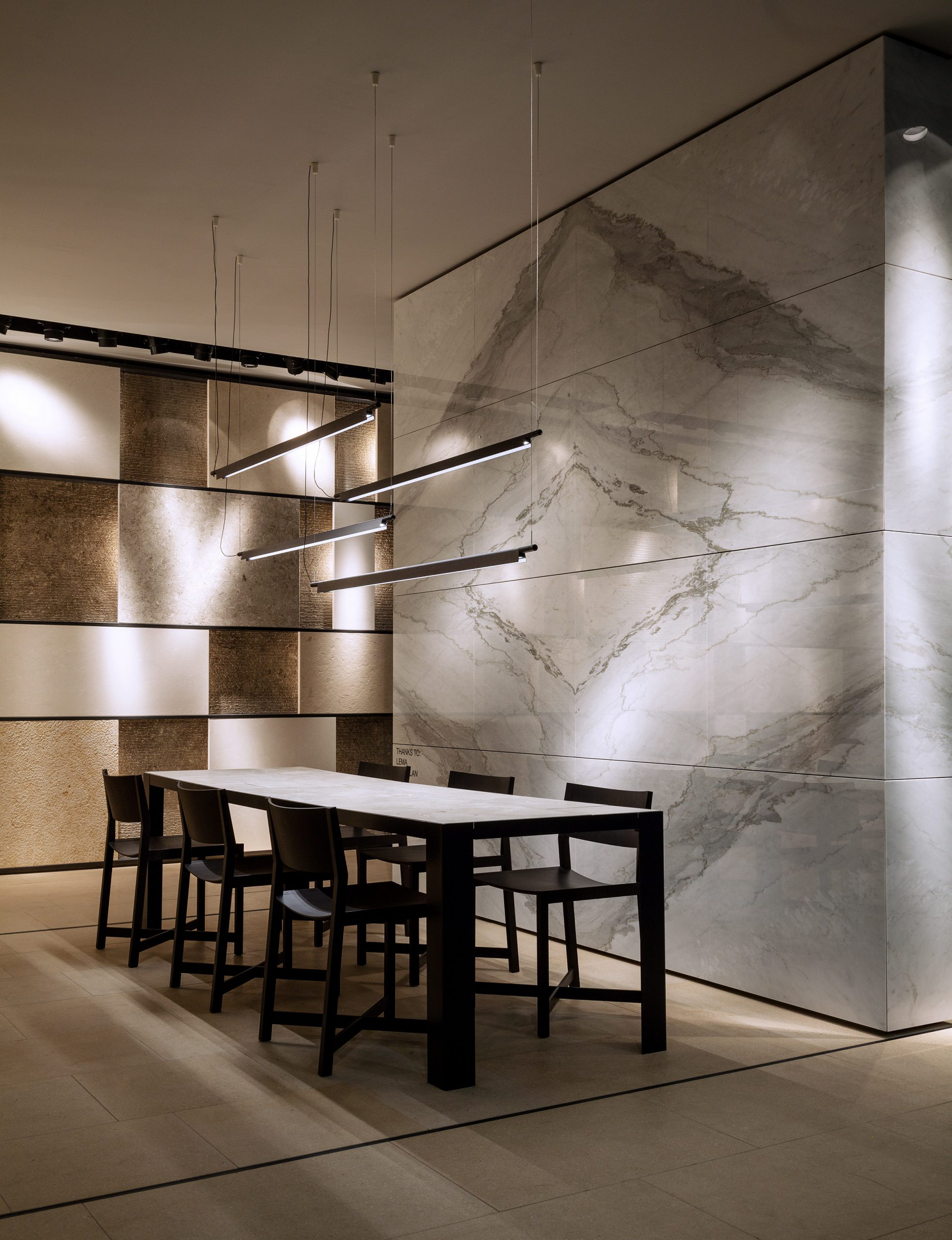 Meeting area at Marmomac 2016 booth designed by Debiasi Sandri for Grassi Pietre