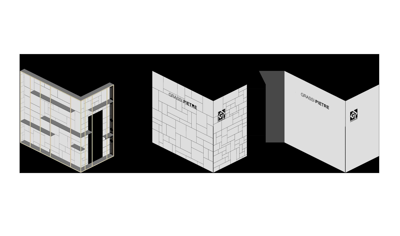 Marmomac 2016 booth detail scheme designed by Debiasi Sandri for Grassi Pietre