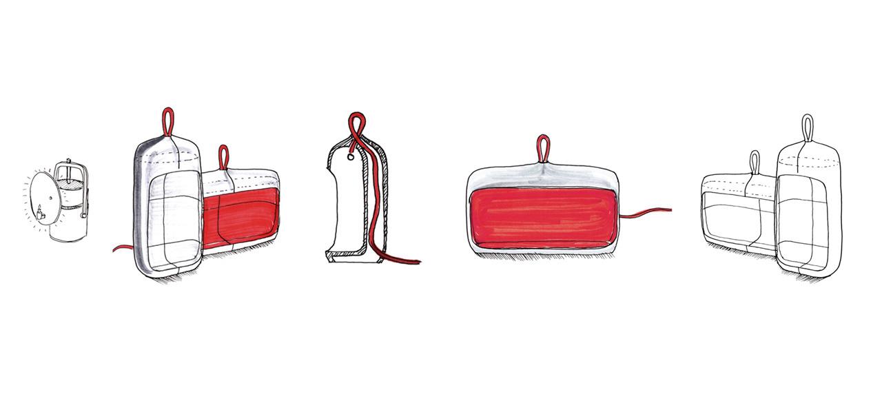 Sketch of the Naica ceramic lamp by Debiasi Sandri for Ligne Roset