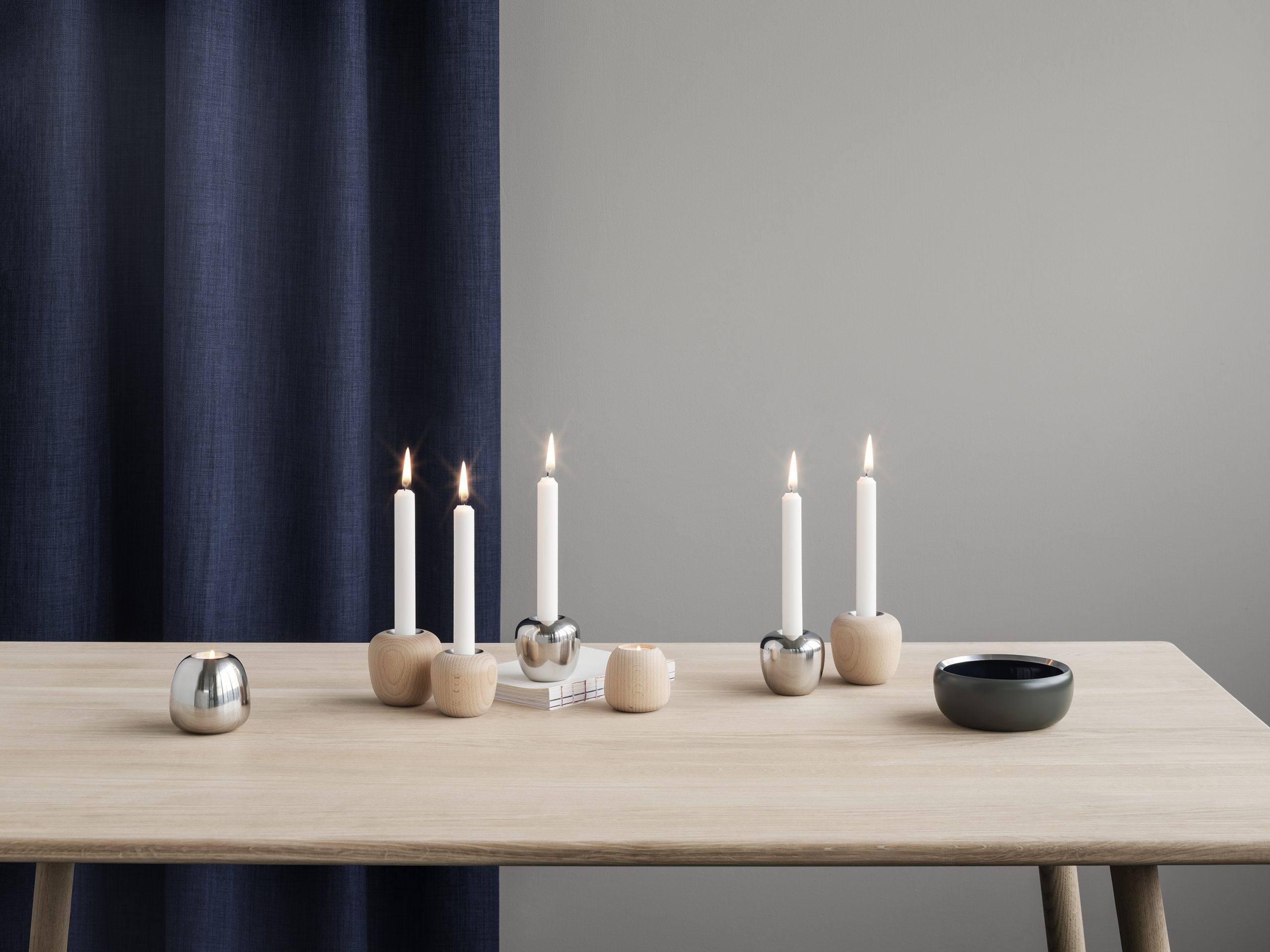 Ora bowls and candle holders by Debiasi Sandri for Stelton