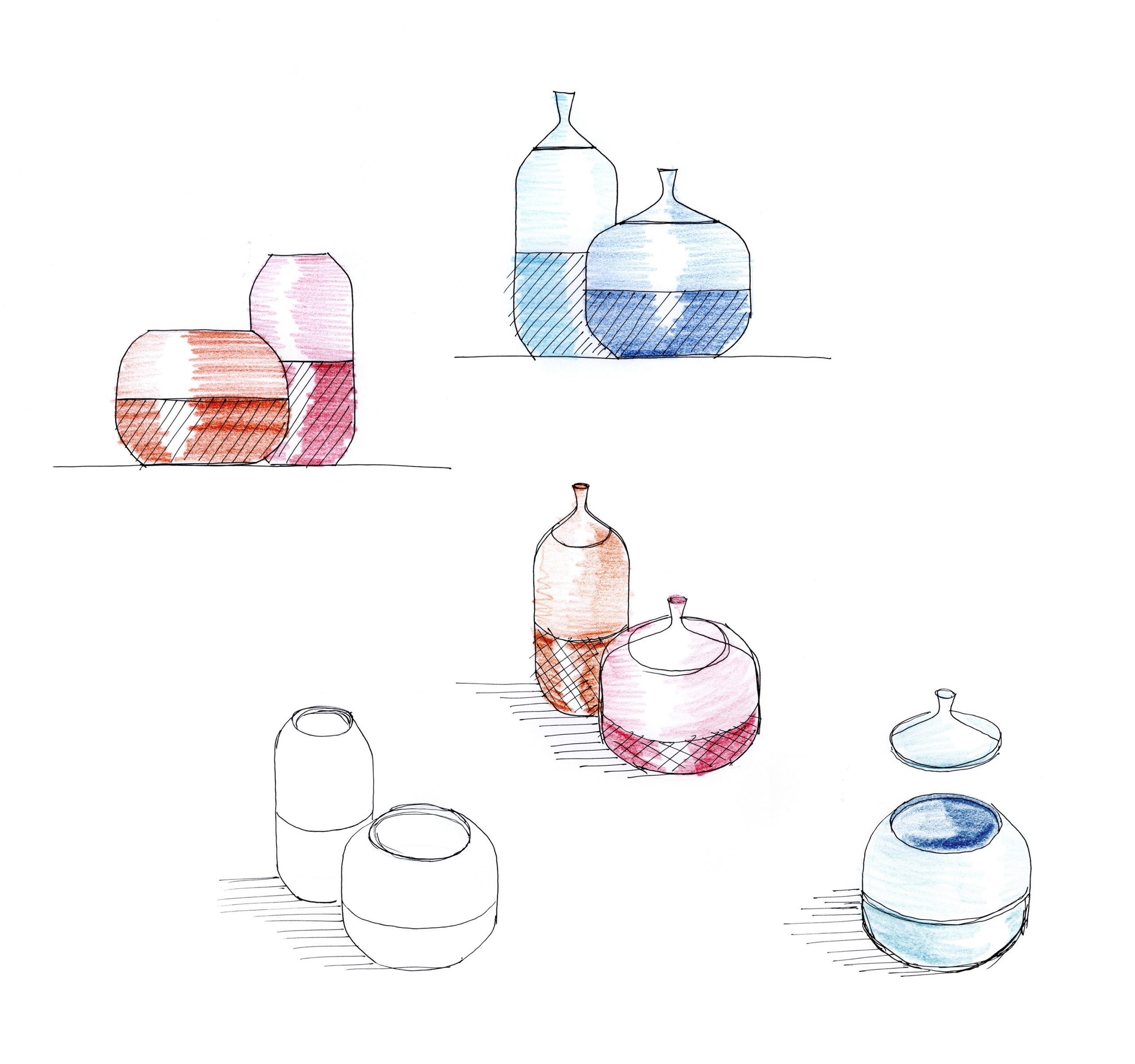 Sketch of the Pepo vases and containers by Debiasi Sandri for Normann Copenhagen