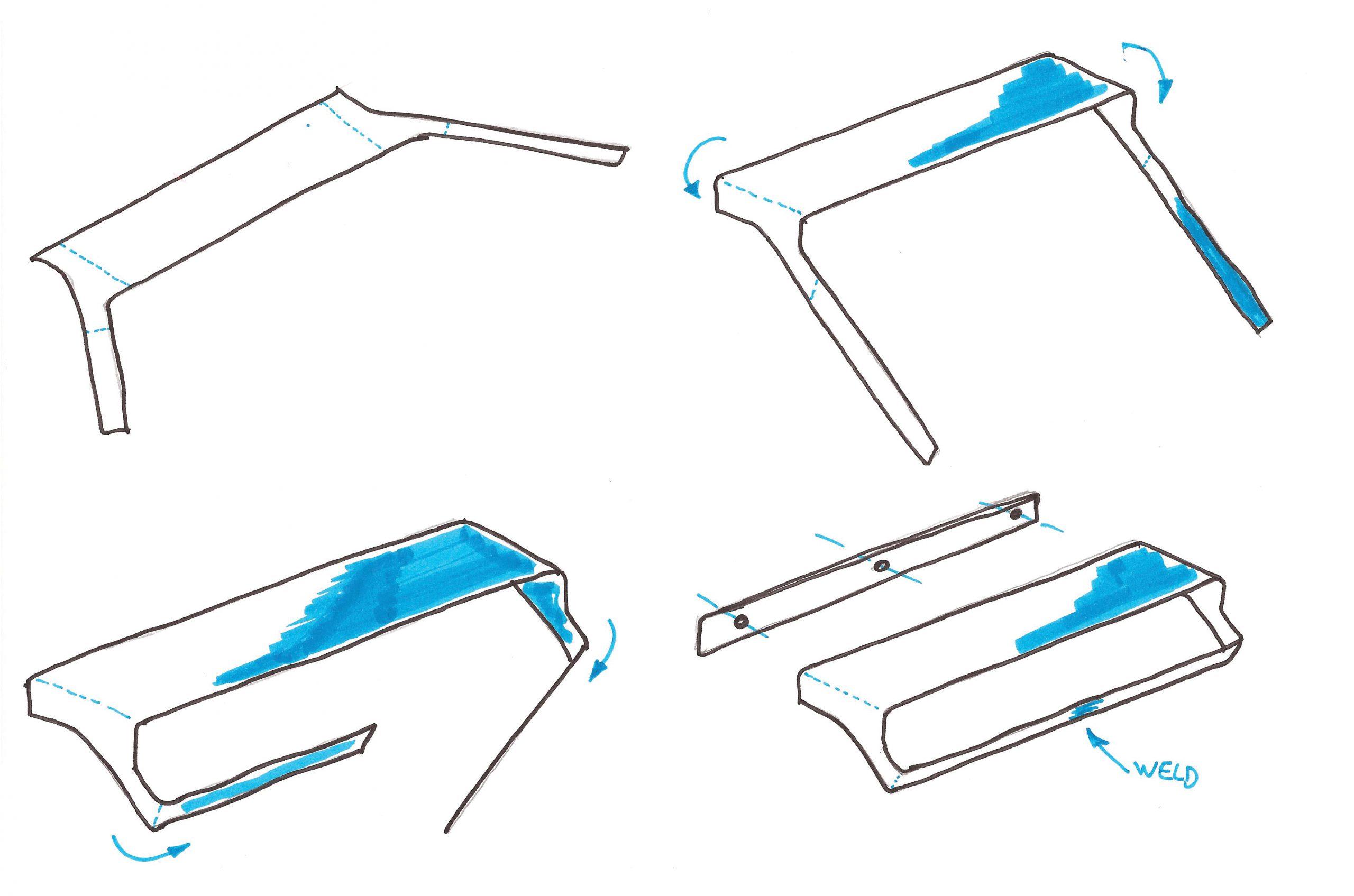 Sketch of the Qgini bathroom accessories by Debiasi Sandri for Antoniolupi