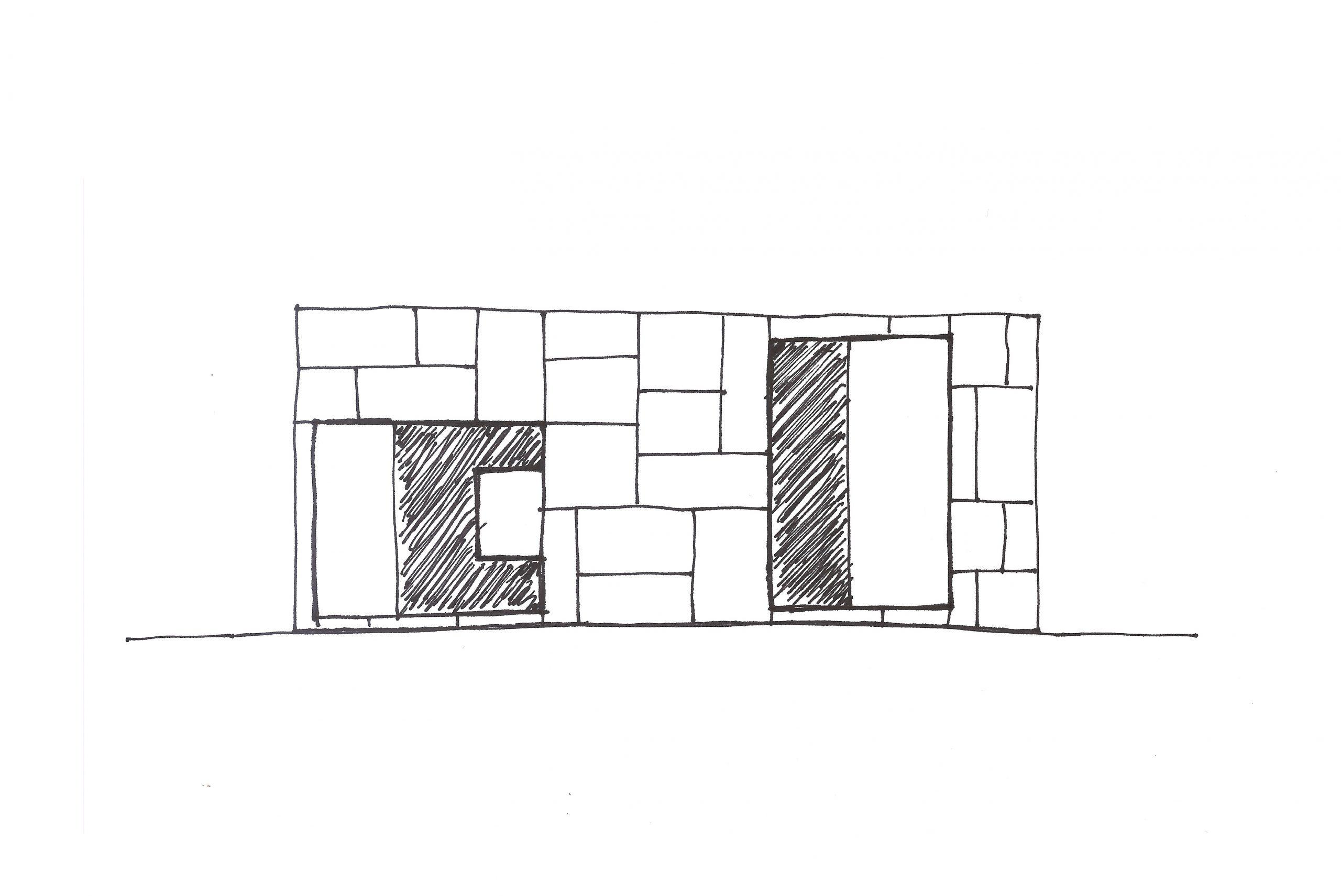 sketch of Showroom Interior Design by Debiasi Sandri for Grassi Pietre