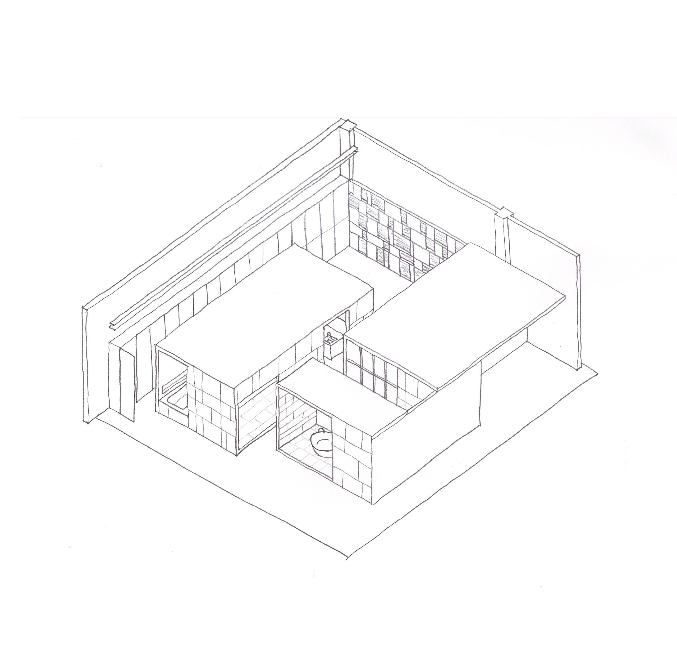 Concept sketch of Showroom Interior Design by Debiasi Sandri for Grassi Pietre