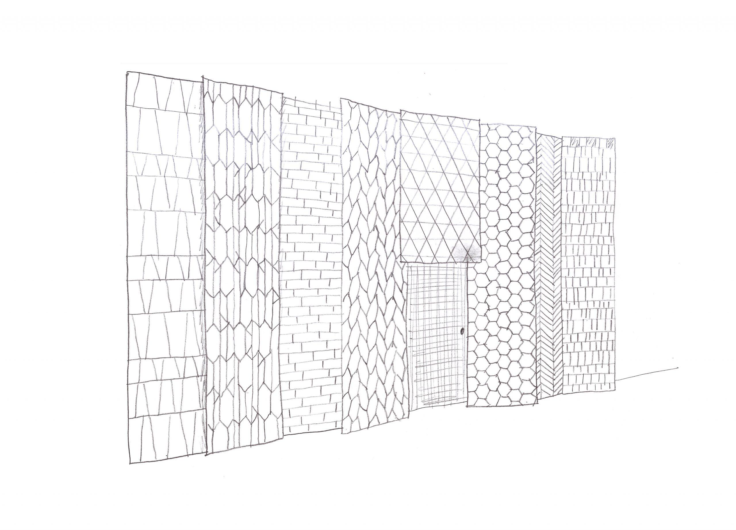 Tile wall sketch in the Showroom Interior Design by Debiasi Sandri for Grassi Pietre