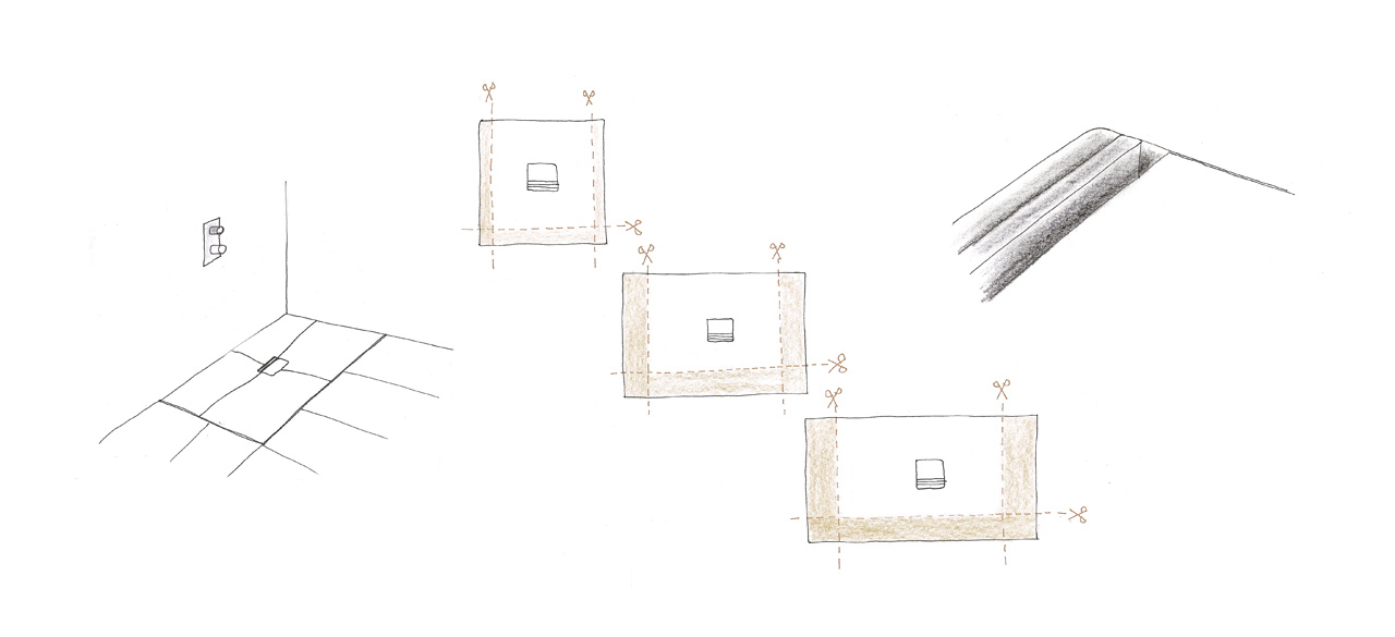 sketch of the Squaro Infinity shower floor series by Debiasi Sandri for Villeroy and Boch