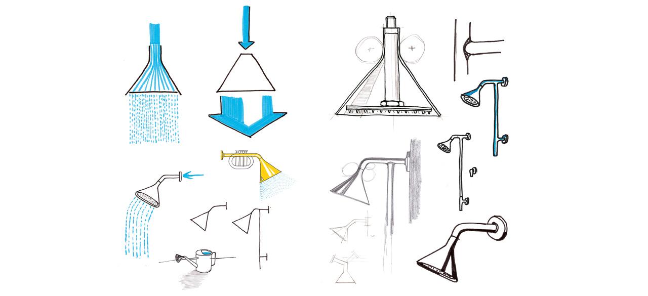 Sketch of the Swing shower series by Debiasi Sandri for Bonomi
