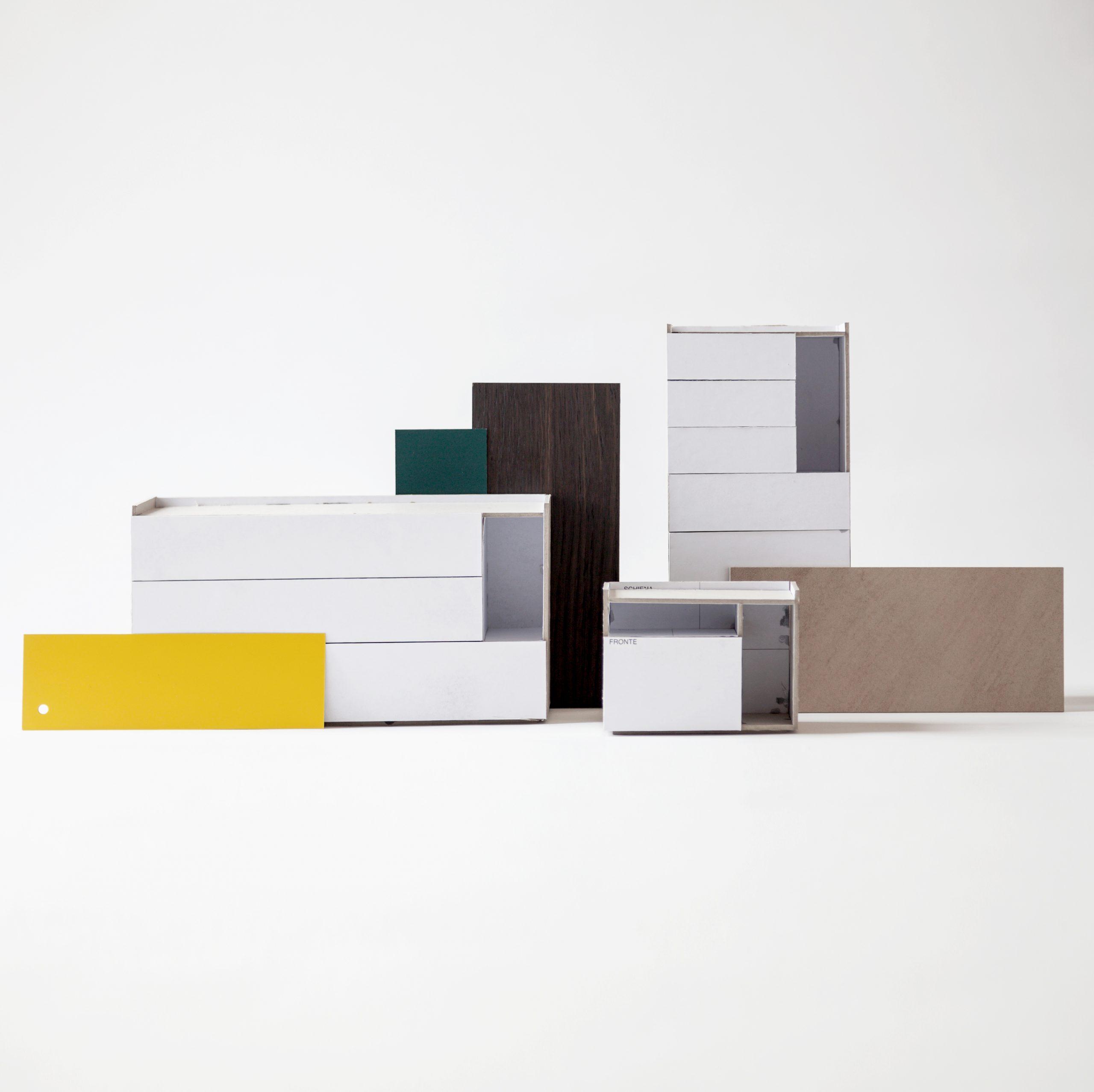 Cardboard mockup of the Tip drawer units by Debiasi Sandri for Lema