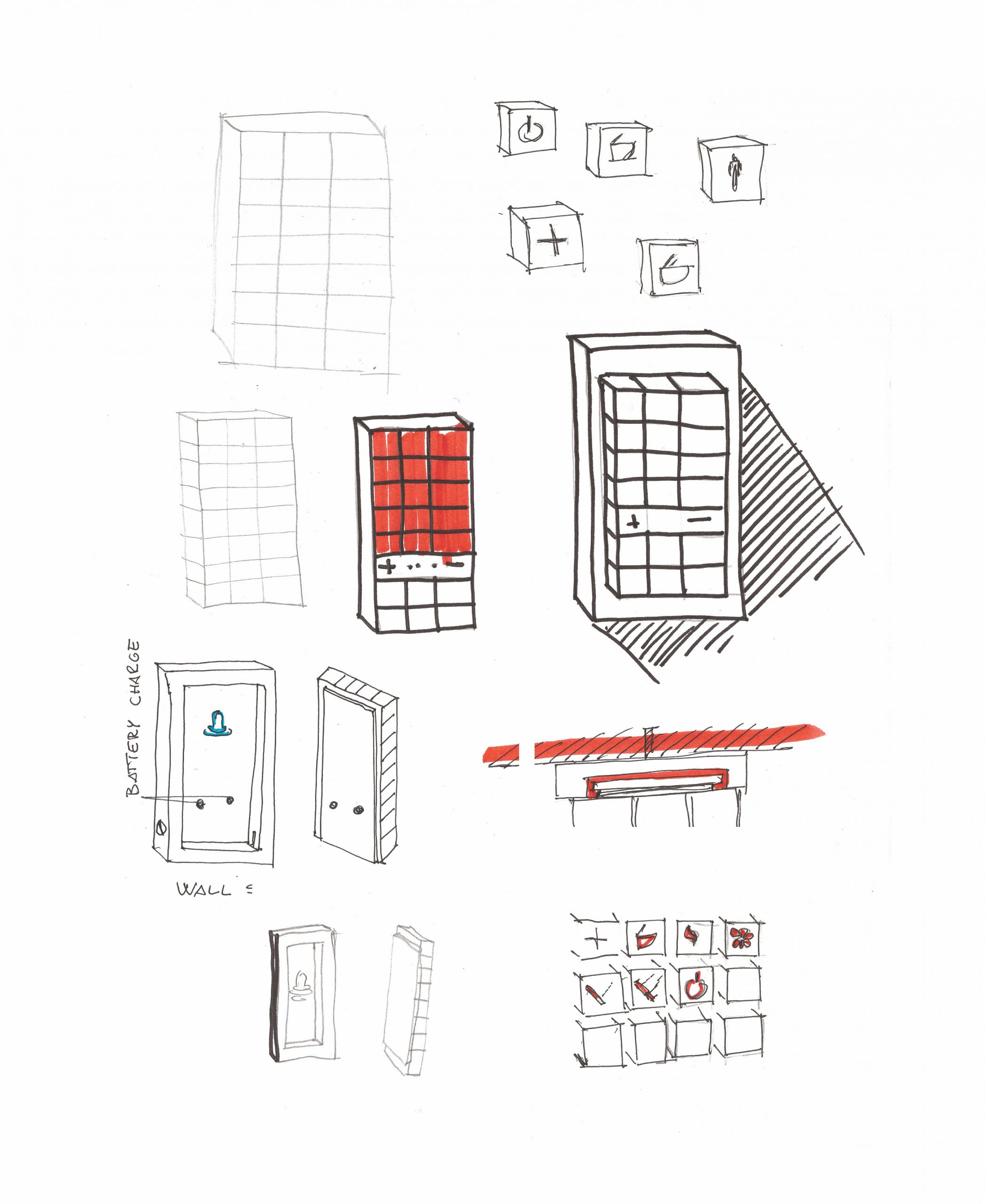 Sketch of the ViClean remote control series designed by Debiasi Sandri for Villeroy & Boch