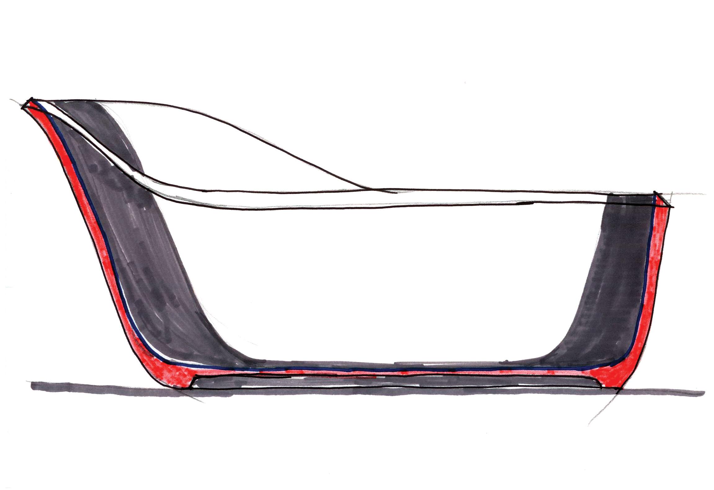 Sketch of the Wanda bathtub by Debiasi Sandri for Antoniolupi