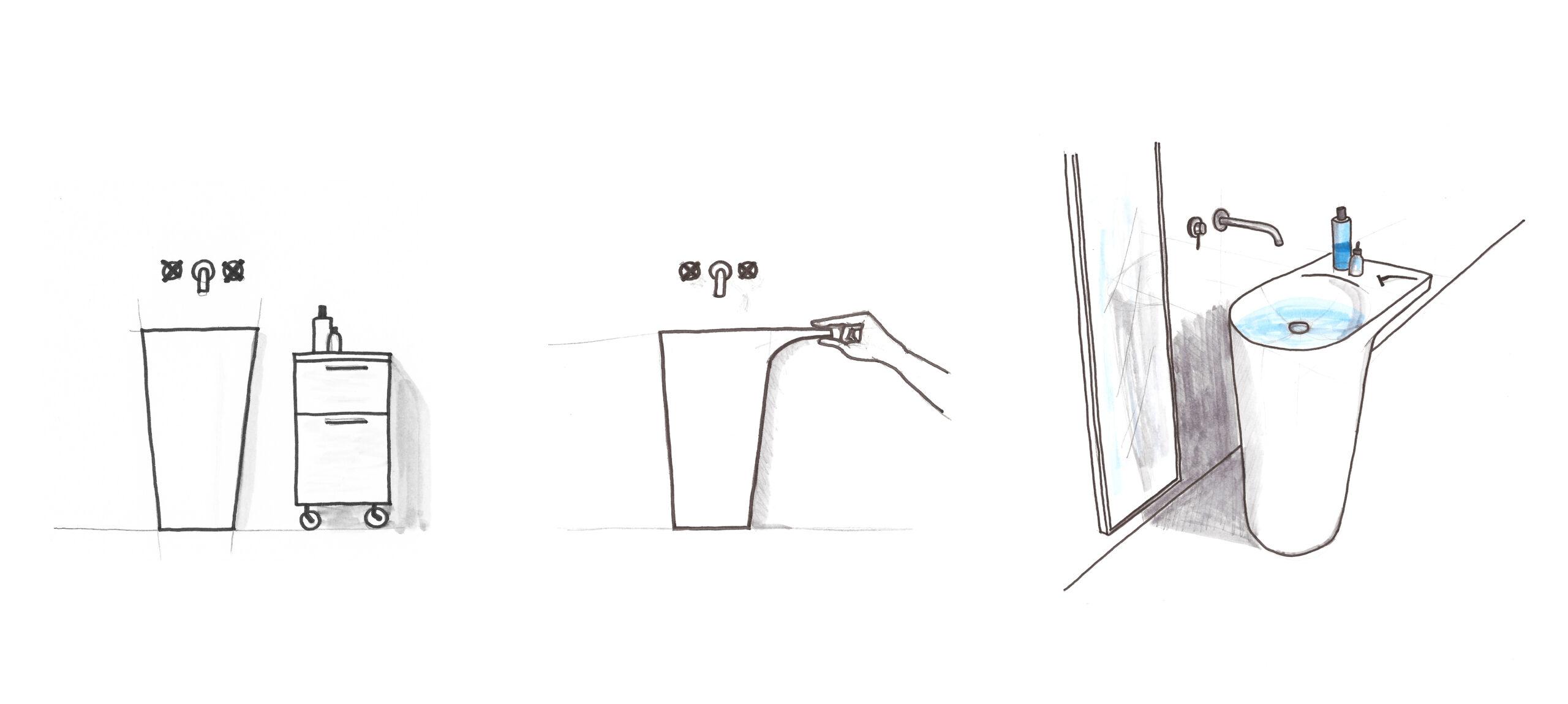 Concept Sketch of the Ala washbasin by Debiasi Sandri for Toscoquattro